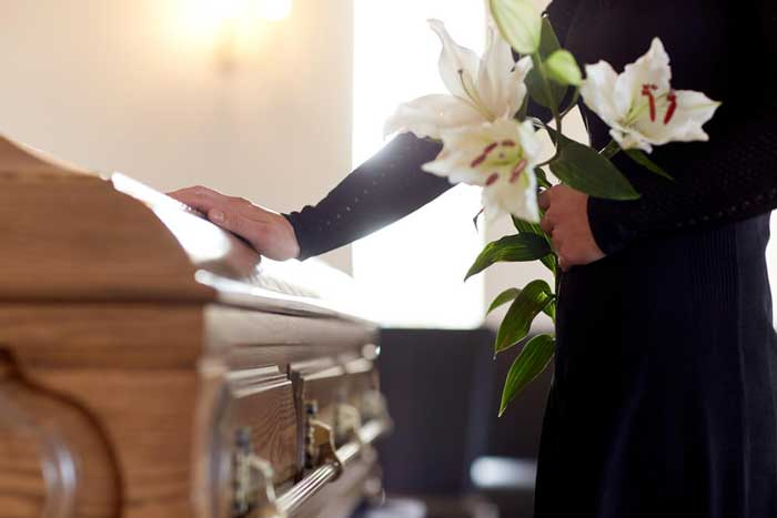 funeral service with flowers